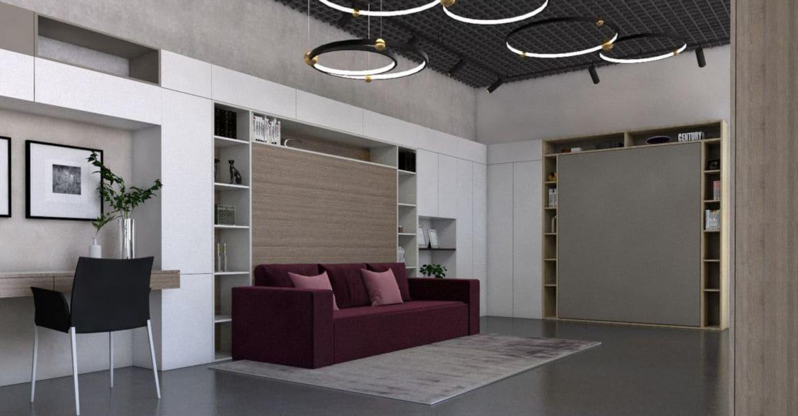 кровать подьемная к стене с диваном трансформер спб фото