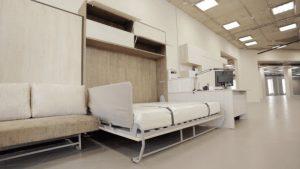 шкаф-кровать вертикальная одноярусная встроенная в стену