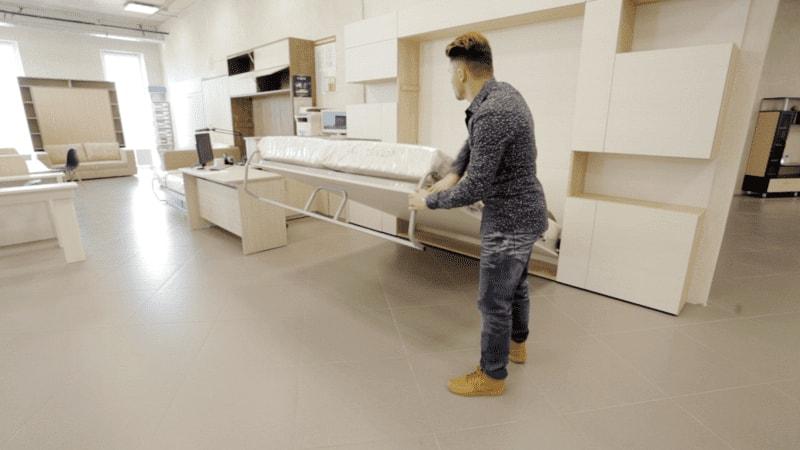 шкаф-кровать трансформер вертикальная двуспальная откидная от стены с подьемным механизмом